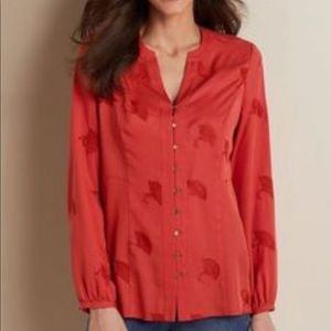 Soft Surroundings Coral Embroidered Button Down 1X
